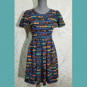Lularoe Women's Blue Geometric Print A-Line Dress